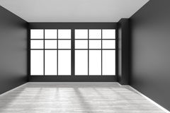 Empty room with white parquet floor, black walls and window fron Stock Photography