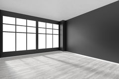 Empty room with white parquet floor and black walls and window Stock Photography