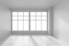 Empty room with white parquet floor, textured white walls and bi Royalty Free Stock Images