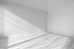 Empty room with white parquet floor and textured white walls Royalty Free Stock Photography