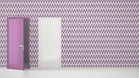 Empty room with white and purple wallpaper interior design with open and closed doors with frame, wooden white floor. Choice,. Decision, selection, option royalty free illustration