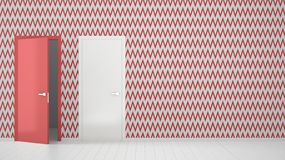 Empty room with white and red wallpaper interior design with open and closed doors with frame, wooden white floor. Choice,. Decision, selection, option concept royalty free stock image