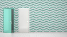 Empty room with white and turquoise wallpaper interior design with open and closed door with frame, wooden white floor. Choice,. Decision, selection, option vector illustration