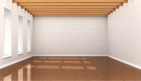 Empty room, white wall bricks, blocks, Stock Image
