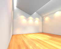 Empty room white wall with Ceiling serration Royalty Free Stock Photo