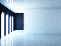 Empty room with white wall, 3d. Rendering Stock Photo