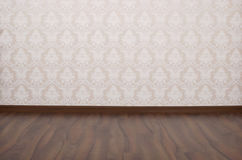 Empty room with white wall and  flor Stock Photos