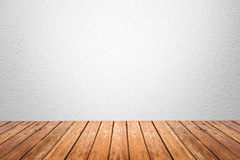 Empty room of white wall and wood floor Stock Photos