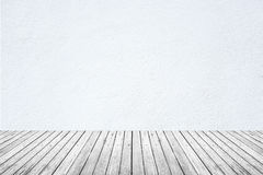 Empty room of white wall and wood floor Stock Image