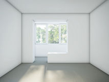 Empty room with white walls and gray cement floor. Renovation Concept. White Stucco Concrete Wall and Gray Floor Copy Space Background. 3d rendering Stock Photography