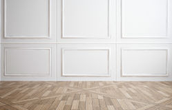 Empty room with white wood paneling Royalty Free Stock Images