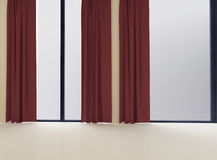 Empty room with the window and the curtain, 3d Royalty Free Stock Photography