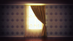 Empty room with window and curtain. Empty room with window and gold curtain Royalty Free Stock Photo