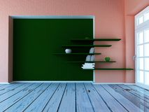 Empty room with the window, 3d. Rendering Royalty Free Stock Photos