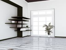 Empty room with the window and a plant near it, 3d. Rendering Stock Image