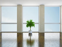 Empty room with windows Stock Photo