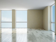 Empty room with windows Royalty Free Stock Photo
