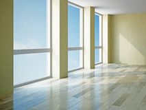 Empty room with windows Royalty Free Stock Photos