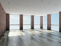Empty room with windows Stock Image
