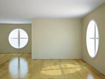 Empty room with windows Stock Photo