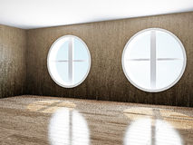 Empty room with windows. The empty room with big  round windows Royalty Free Stock Photography