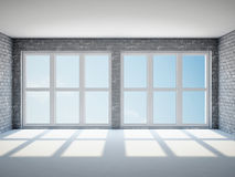 Empty room with windows Royalty Free Stock Photography