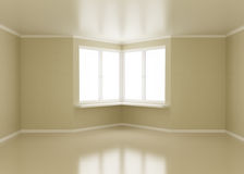 Empty room, windows in corner Royalty Free Stock Photo