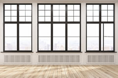 Free Empty Room With Big Windows And Wood Floor Stock Photo - 84158620