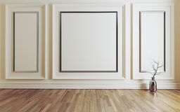 Free Empty Room With Modern Classic White Wall Triple Panels And Wooden Floor 3D Rendering Royalty Free Stock Photos - 178935828
