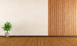 Empty room. With wood paneling and white wall - 3D Rendering Royalty Free Stock Photography