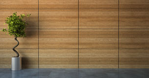 Empty room with wood wall. 3D Stock Photo