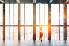 Empty room with wooden ceiling, businesswoman stock images