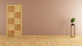 Empty room with wooden door Stock Photo