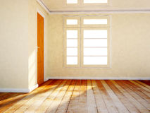 Empty room with a wooden door and a window Stock Photos