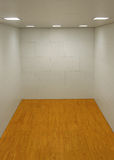 Empty Room with Wooden Floor. Large empty room with a wooden floor and white wooden tile walls with square lights on the ceiling and lots of open blank empty Royalty Free Stock Images