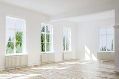 Empty room with wooden floor stock illustration