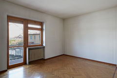 Empty room with wooden floor Stock Photo