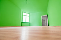 Empty room, wooden floor in new apartment.  stock photography