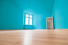 Empty room, wooden floor in new apartment.  stock photo