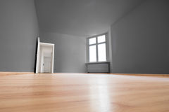 Empty room, wooden floor in new apartment.  stock images