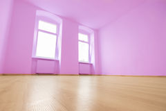 Empty room, wooden floor in new apartment.  stock image