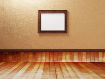 Empty room with a wooden floor and a picture Royalty Free Stock Image
