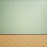 Empty room with wooden floors and vintage wallpaper Royalty Free Stock Photography