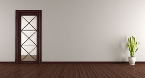 Empty room with wooden glass door Royalty Free Stock Photography