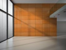 Empty room with wooden panel walls Royalty Free Stock Photo