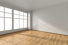 Empty room with wooden parquet floor, textured white walls and w Stock Photos