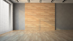 Empty room with wooden wall. 3D royalty free stock image