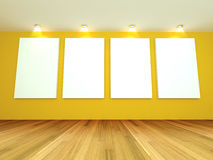 Empty room yellow gallery Royalty Free Stock Photography