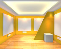 Empty room yellow gallery Royalty Free Stock Images