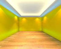 Empty room yellow wall Stock Photography